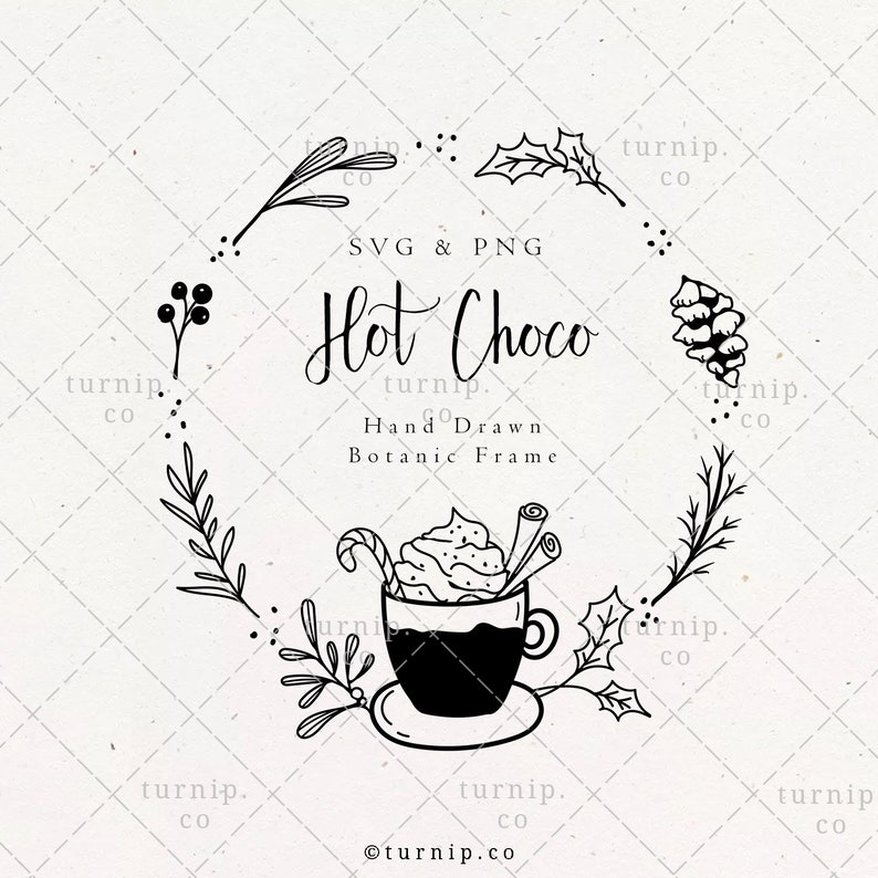 Hot Chocolate Holiday Wreath SVG & PNG Clipart Sublimation image 0