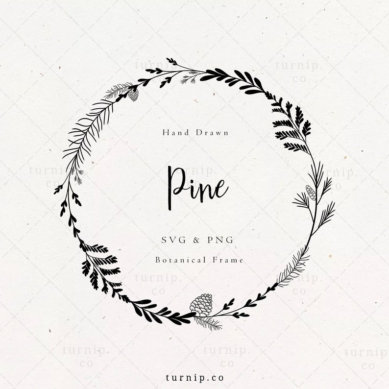 Pine Wreath SVG Christmas Holiday Frame Clipart Pine Cone image 0