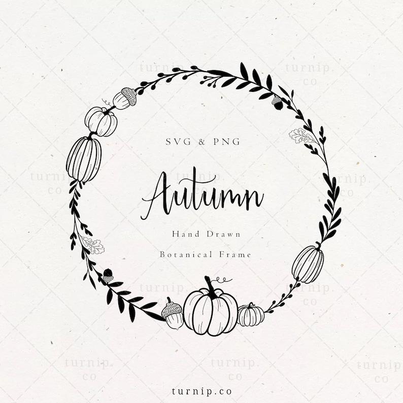 Pumpkin Wreath SVG Thanksgiving Laurel Frame Clipart Autumn image 0
