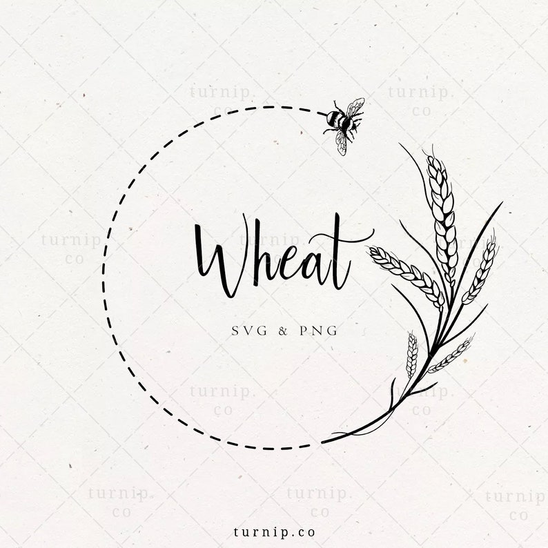 Wheat Wreath SVG Wheat & Bee Border PNG Clipart Farmhouse image 0