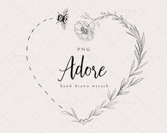 Floral Wreath Clipart Black and White, Bee Heart Wreath Clipart, Wedding Logo Design, Farm Label PNG, Heart Frame Clip Art, Wedding Wreath