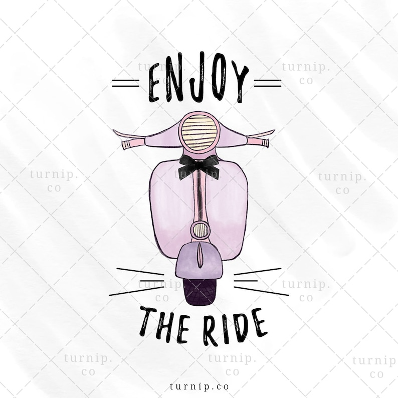 Enjoy the Ride Sublimation Scooter Clipart Graphic Cartoon PNG