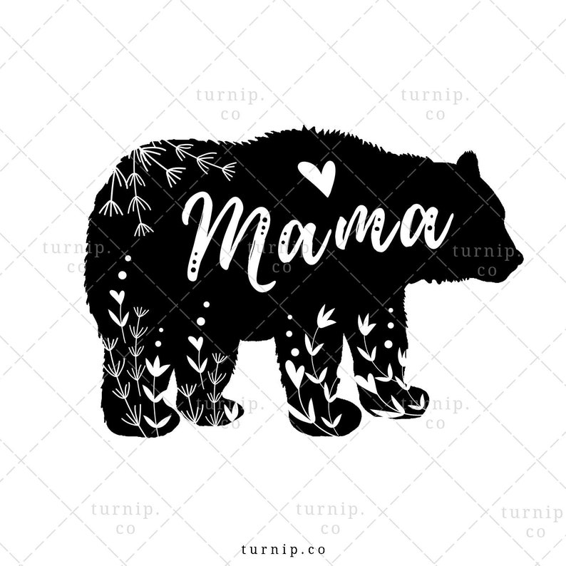 Mama Bear Clipart Sublimation Design Graphic Cartoon PNG
