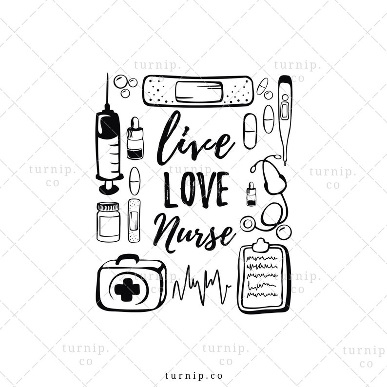 Live Love Nurse Sublimation Clipart PNG Graphic Cartoon PNG