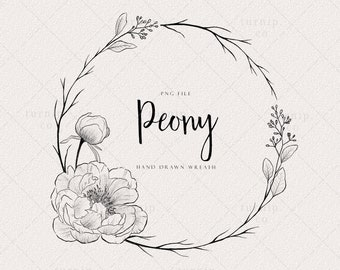 Peony Wreath Clipart, Flower Frame PNG, Circle Floral Border Digital Stamp, Wedding Label Logo Design, Free Commercial Use, Planner Clipart