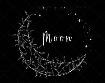 Moon Wreath Clipart, Moon & Star Border PNG, White Floral Wreath Instant Download, Moon Frame PNG, Wedding | Label | Sticker| Logo Design