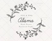 Wild Flower Alisma Split Wreath SVG & PNG Clipart Sublimation Graphic Design / Botanical Leaf Frame Border Illustration Print Wall Wood Art