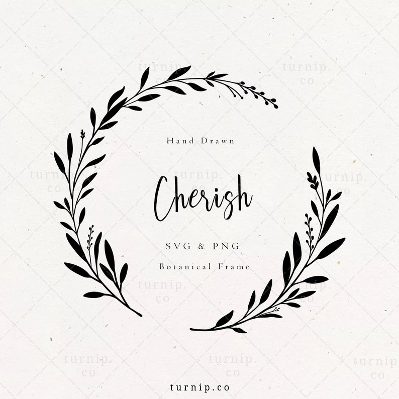 Laurel Wreath SVG & PNG Branch Frame Clipart