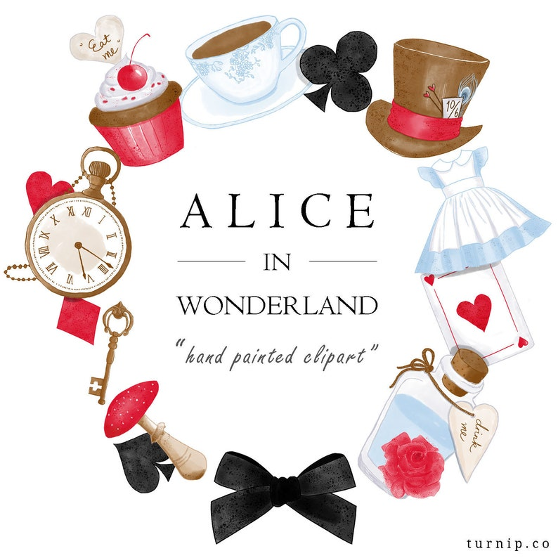 Watercolor Alice In Wonderland Clipart Set Cartoon PNG