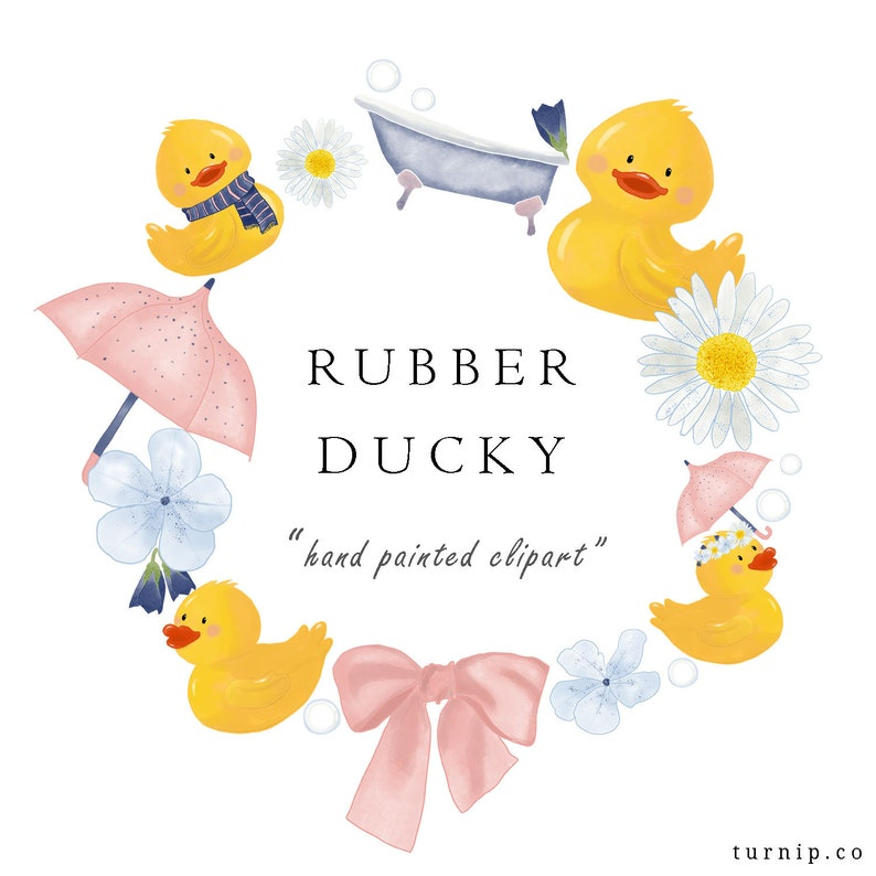 Watercolor Rubber Duck Clip Art Design