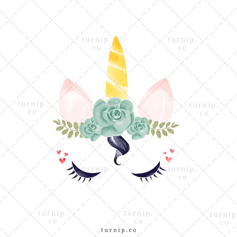 Unicorn Head Clipart PNG Sublimation Graphic