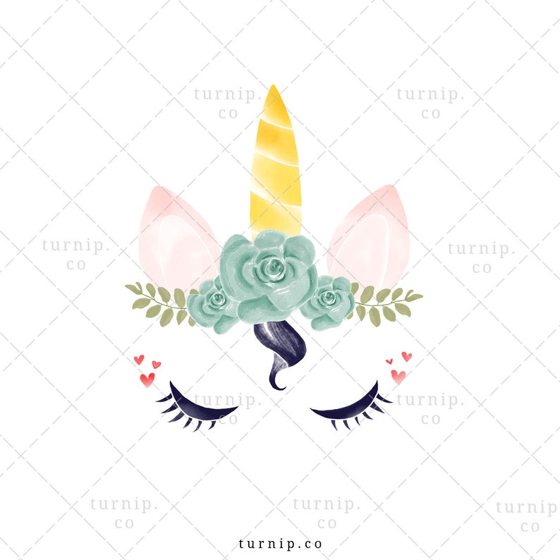 Unicorn Head Clipart PNG Sublimation Graphic Cartoon PNG