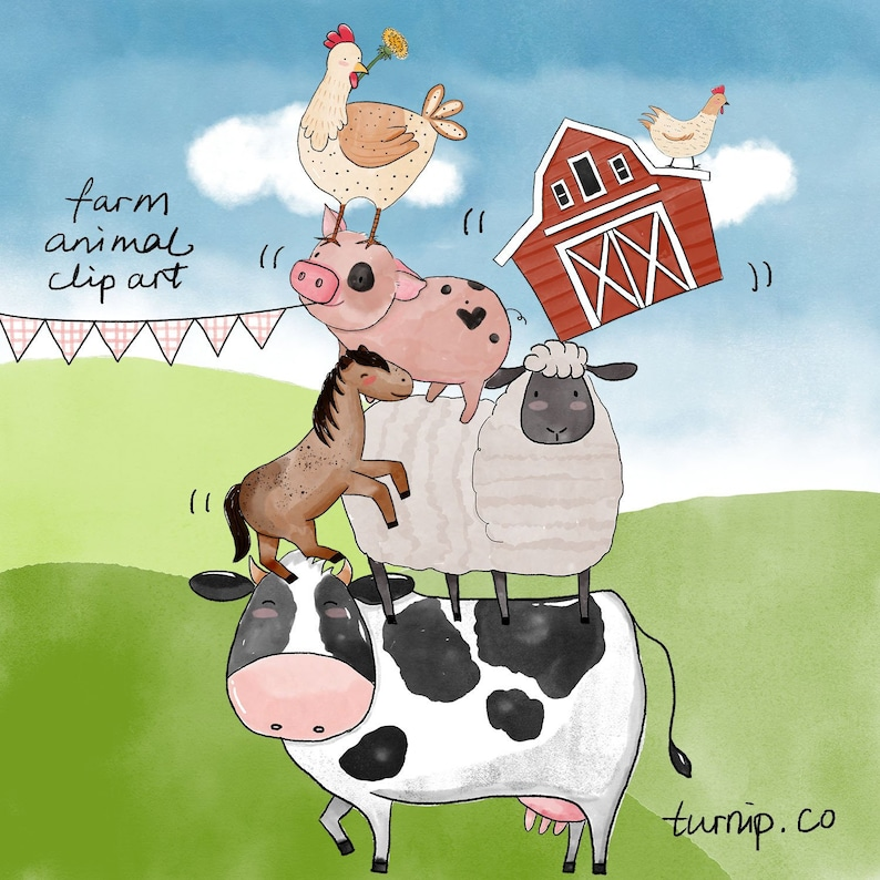 40 Watercolor Farm Animals Baby Shower Clipart PNG Images Cartoon PNG