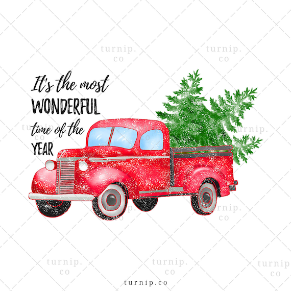 Christmas Truck With Tree Clipart PNG Sublimation Graphics ... (570 x 570 Pixel)