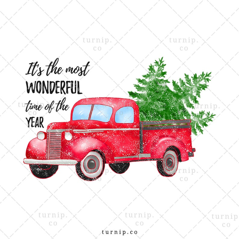 Christmas Truck With Tree Clipart PNG Sublimation Graphic Cartoon PNG
