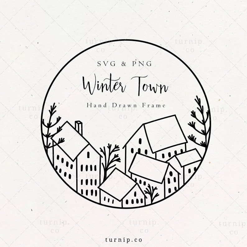 Winter Town Frame SVG & PNG Clipart Sublimation Graphic Design image 0