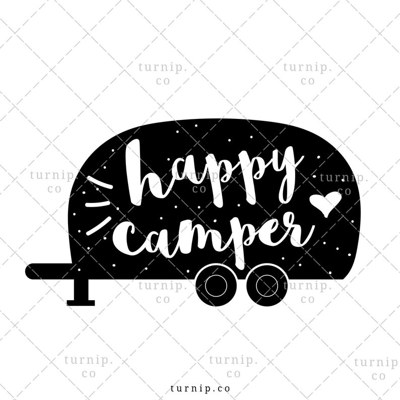 Happy Camper PNG Sublimation Graphic In Black And White Cartoon PNG