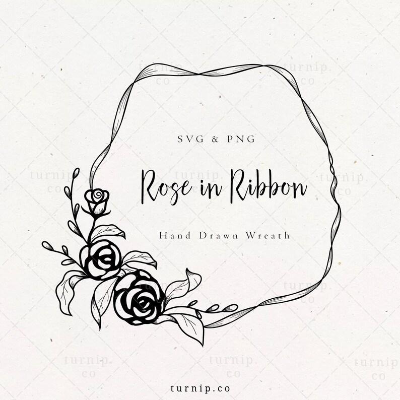 Rose Wreath SVG Laurel Flower png Wedding Floral Frame image 0