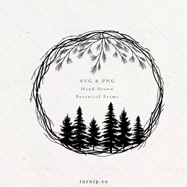 Christmas Wreath SVG & PNG Clipart Files Pine Tree Winter image 0