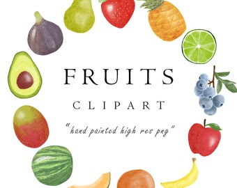 WATERCOLOR FRUIT Clipart PNG Download : Pineapple, Avocado, Blueberry, Apple, Mango, Cantaloupe, Pear, Banana, Strawberry, Lime, Commercial
