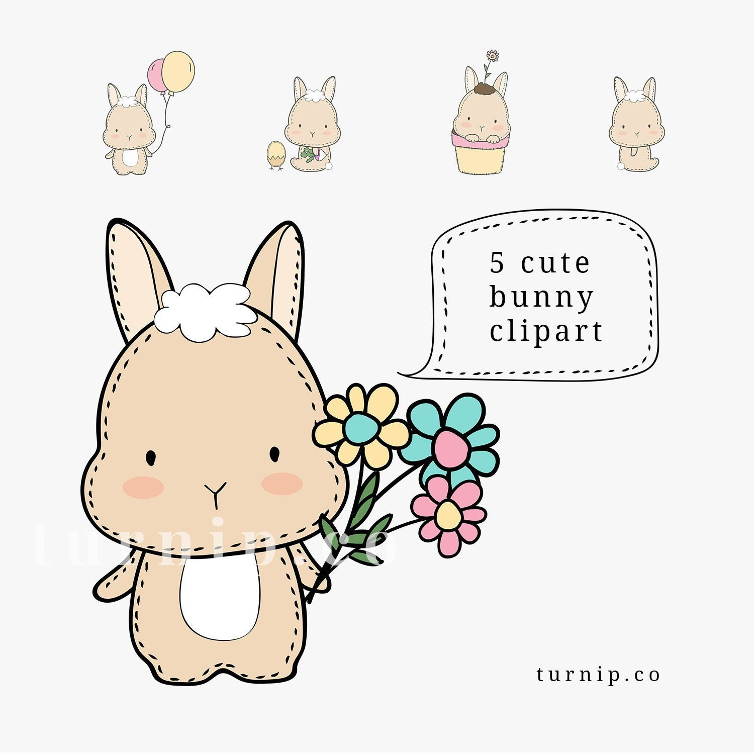 Cute Hand Drawn Bunny Clipart