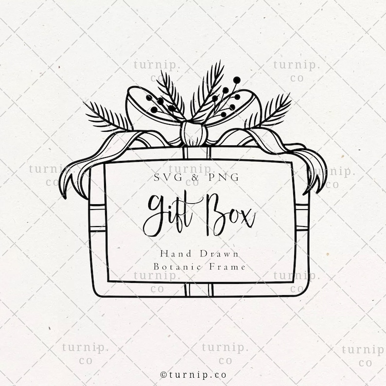 Christmas Gift Box Frame SVG & PNG Clipart Sublimation Graphic image 0