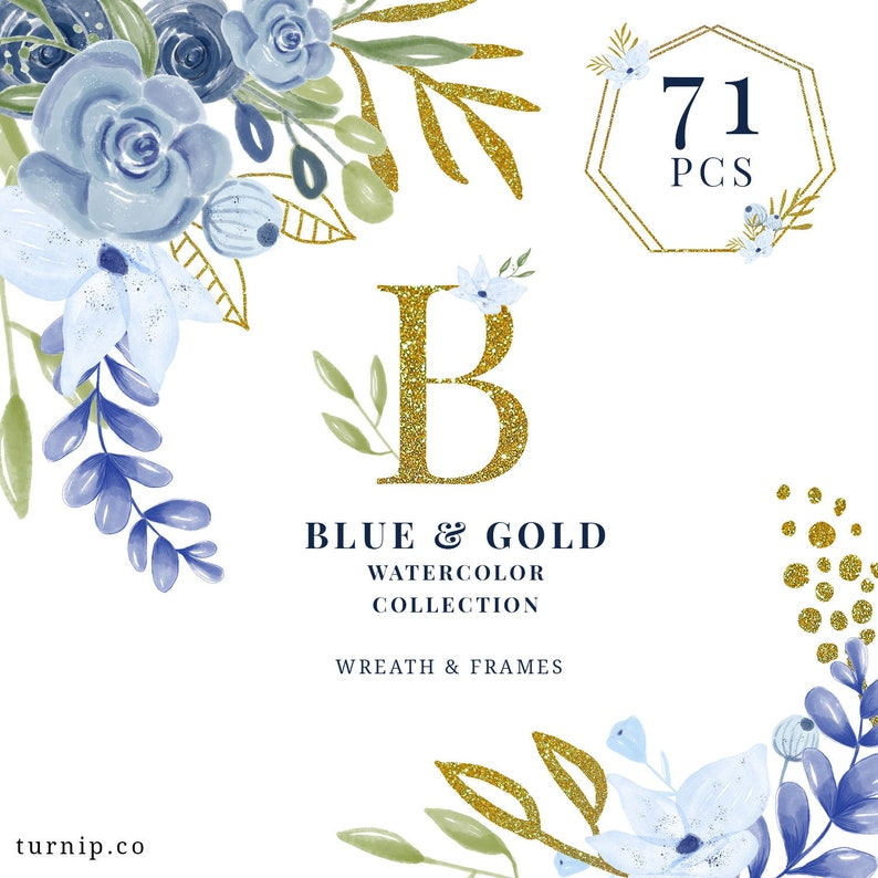 71 Blue and Gold Watercolor Collection Clipart Cartoon PNG