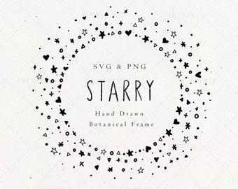 Star Frame SVG & PNG Clipart Sublimation Graphic Design / Starry Border Doodle Pattern Circle Vector Image Black White Digital Download File