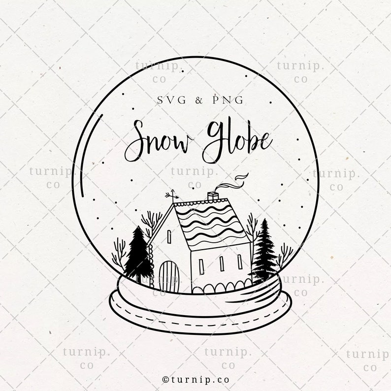 Snow Globe Christmas Border SVG & PNG Clipart Sublimation image 0