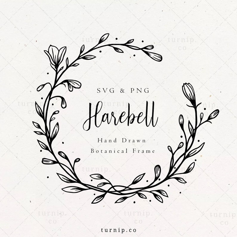 Harebell Flower Frame SVG & PNG Clipart Sublimation Graphic image 0