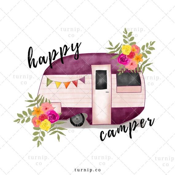 campsite PNG digital download leopard curtain camper cactus happy camper clipart sublimation graphic design