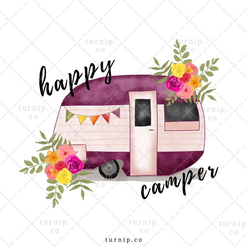 Happy Camper Clipart Sublimation Watercolor Graphic