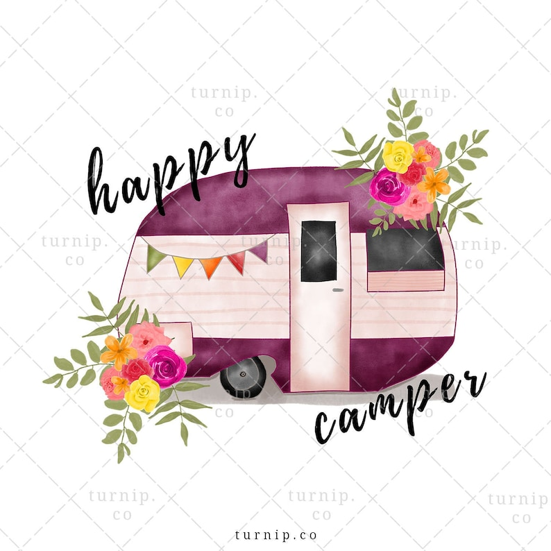 Happy Camper Clipart Sublimation Watercolor Graphic Cartoon PNG