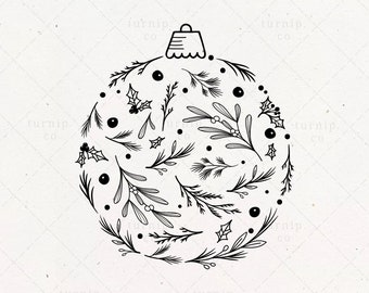 Christmas Ornament SVG & PNG Clipart Sublimation Graphic Design / Xmas Balls Botanical Leaf Wreath Greeting Card Shape Vector Sign File