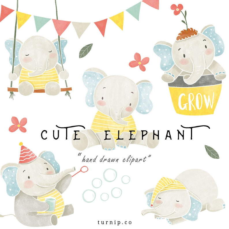 Watercolor Baby Elephant Clipart PNG Boy Girl Digital Download Cartoon PNG