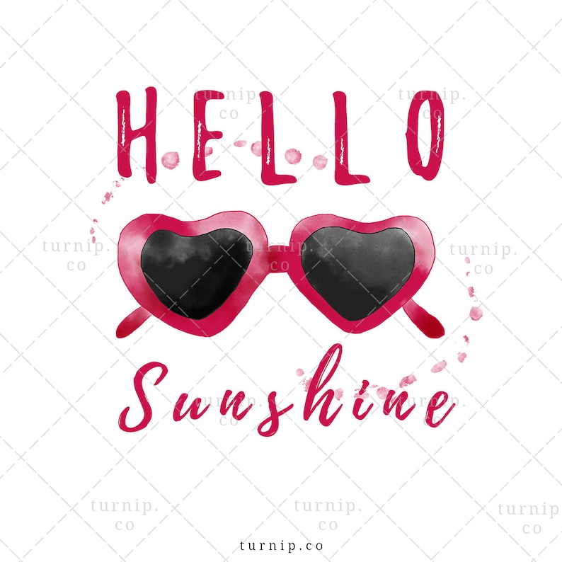 Hello Sunshine PNG Sunglasses Sublimation Clipart Graphic Cartoon PNG