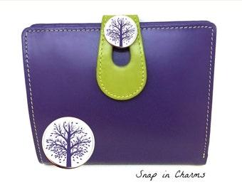 RFID women's wallet, Purple woman's wallet, Purple leather wallet, Woman''s wallet, Purple wallet, Genuine leather wallet, tree of life