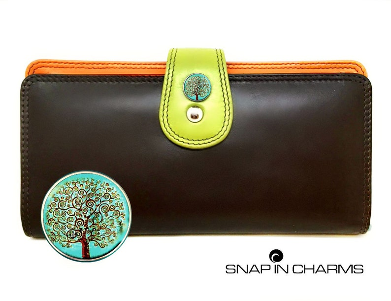 cheap for discount 6882d c8eb2 Brown leather wallet, womens wallet, women wallet, iPhone wallet, brown  wallet, multi color wallet, button snap charms, women's wallet