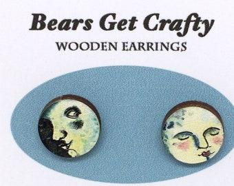 Wooden Moon Face Earrings