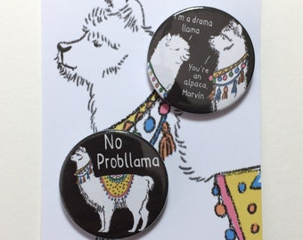 Duo of Llama Badges or Magnets