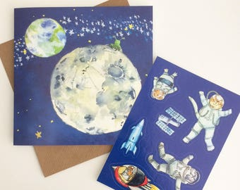 Animals in Space Scene Sticker Card