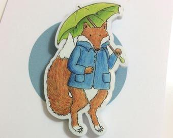 Rainy Day Fox Acrylic Brooch