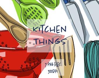 Kitchen Utensils Digital Drawings Clip Art