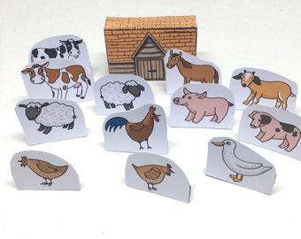 Mini Paper Farm in a Matchbox Download and Print