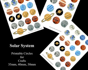 Solar System Planets Printable Download for Crafts 35mm 40mm 50mm circles