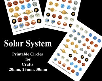 Solar System Planets Printable Clip Art for Crafts 20mm 25mm 30mm