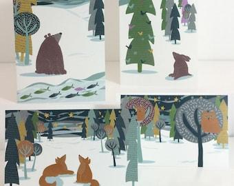Woodland Animal Christmas Cards Pack