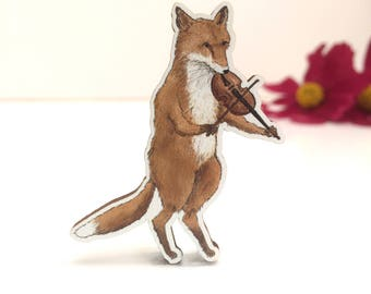 Wooden Fox and Fiddle Brooch