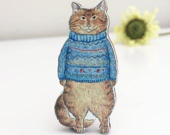 Tabby Cat Wooden Brooch