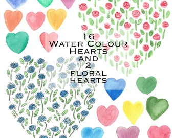 Hand Painted Water Colour Hearts Clip Art